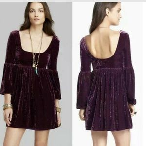 FREE PEOPLE Oh So Easy Plum Velvet Dress sz S